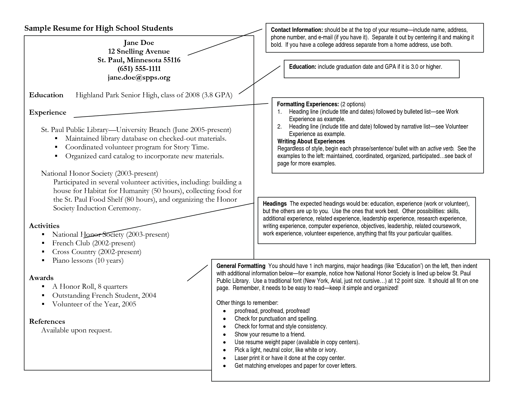 example resume for high school student high school student resume ...
