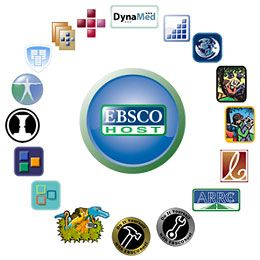 Various logos circling the EBSCO HOST logo